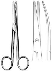 Tijera de cirugía curva inox con punta roma/roma