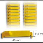 Crotal tira de plástico ref. 101, con punta de plástico. Ideal para lechones o corderos. En paquetes de 100 unidades. Diferentes colores: amarillo, azul, rojo,salmón, verde, blanco. Posibilidad de grabar con láser inalterable