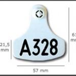 Crotal hembra inviolable ref. 381 de plástico. Diferentes colores: amarillo, azul, verde, rojo, blanco. Grabación con láser inalterable.