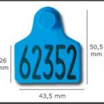 Crotal hembra cerrado mediano ref. 411 de plástico. Diferentes colores: amarillo, azul, verde, rojo, blanco. Grabación con láser inalterable.