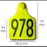 Crotal hembra cerrado grande ref. 421 de plástico. Diferentes colores: amarillo, azul, verde, rojo, blanco. Grabación con láser inalterable.