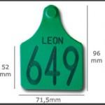 Crotal hembra cerrado maxi ref. 441 de plástico. Diferentes colores: amarillo, azul, verde, rojo, blanco. Grabación con láser inalterable.