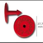 Crotal macho ref. 521 de plástico con punta metálica de plástico. Diferentes colores: amarillo, azul, verde, rojo, blanco. Grabación con láser inalterable.