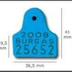 Crotal macho cuadrado mini ref. 601 de plástico con punta metálica de acero. Diferentes colores: amarillo, azul, verde, rojo, blanco. Grabación con láser inalterable.
