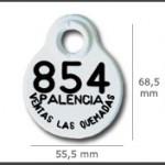 Crotal para colgar ref. 711 . Redondo de plástico y en diferentes colores. Posibilidad de grabar en láser inalterable