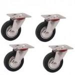 Kit de 4 ruedas giratorias para contenedor de bajas. 2 con freno y 2 sin freno.