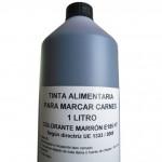 Tinta alimentaria para marcaje en líquido, colores negro y marrón. Botella de 1 litro.